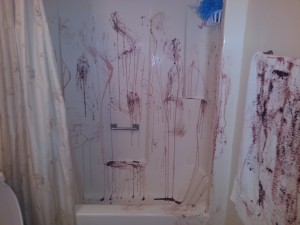 Shower massacre - Halloween scary decor for the bathroom