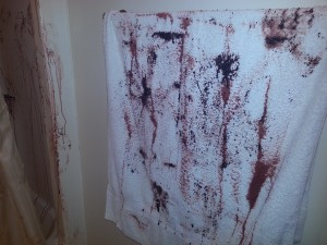 Bloody towel - Halloween scary bathroom decor