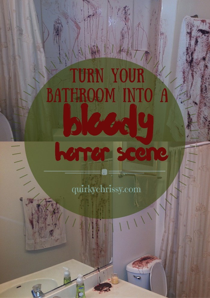 For our Halloween party, we turned our bathroom into a bloody horror scene using some items we had laying around the kitchen for realistic looking blood that was EASY to clean up.
