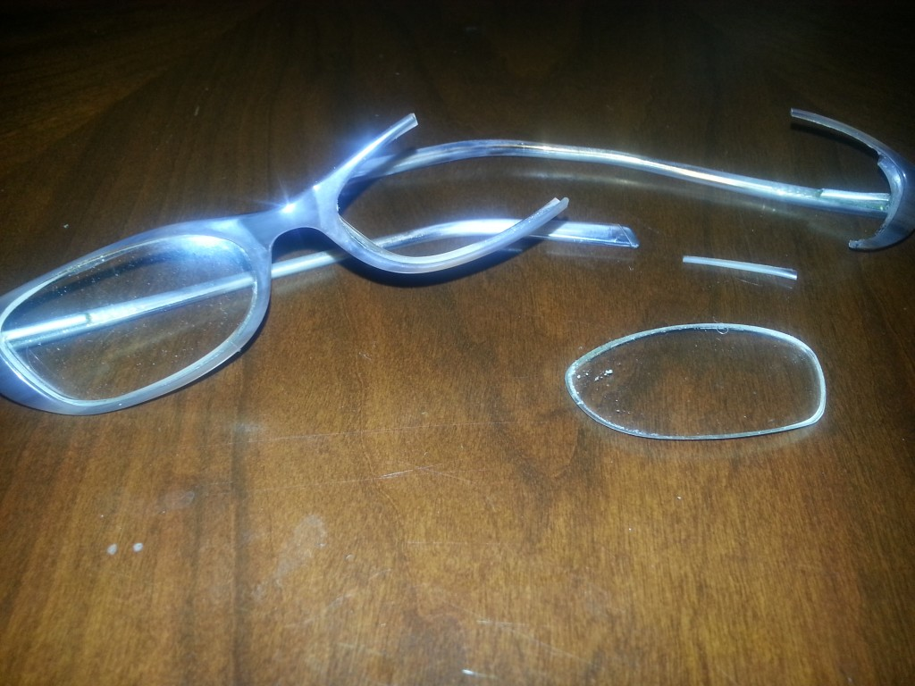 Glasses broke in half because of cold