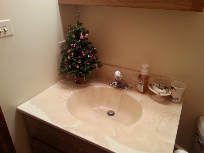 Bathroom Decorated for Christmas