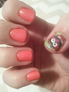 Gratuitous nail photo: That's right. I painted Animal on my nail to match the BandAid on the other thumb.