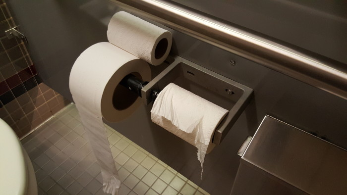 "I didn't have any pictures of two good TP rolls with the ""spare roll"" but everyone knows this roll is the dangerous one."