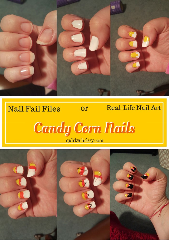 I saw a cool Halloween nail art tutorial from Julep, and used it to make candy corn nail art.