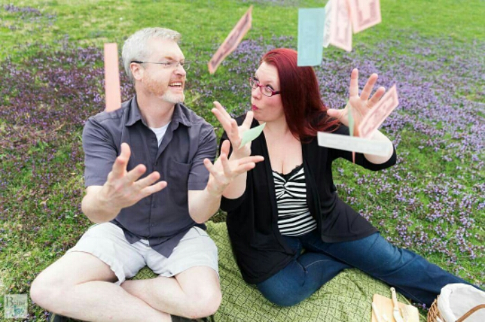 adorable engagement photos at a park with board games