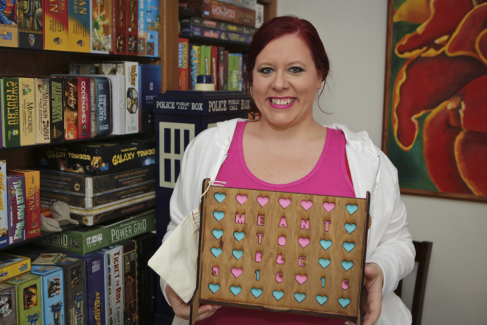 We received a personalized wedding gift of Connect Four with our wedding colors and hashtag