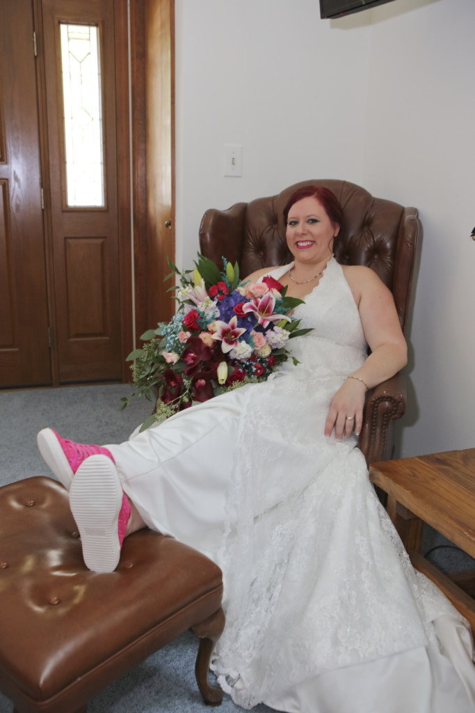 Taking a wedding photo in my grandfather's chair