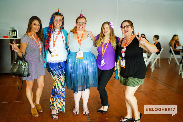 writers posing at the blogher17 closing party