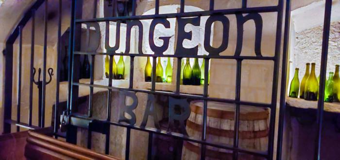 Kinnitty Castle Dungeon Bar cellar table