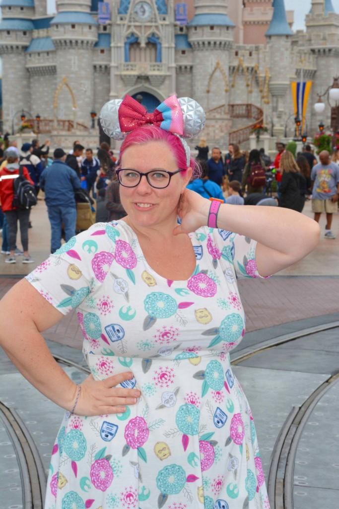 Chrissy wearing a Star Wars Dress in Magic Kingdom