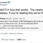 Tweet from the bloggess saying we're friends